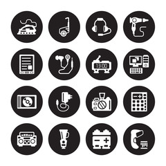 16 vector icon set : Iron, Battery, Blender, Boombox, Calculator, Barcode scanner, Ereader, Compact disc, Digital clock isolated on black background