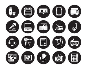 20 vector icon set : Pendrive, Camera, Charger, Compact disc, Computer, Microwave, Iron, Ereader, Headphones, Laptop, Monitor isolated on black background