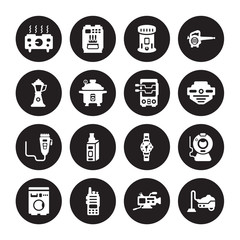 16 vector icon set : hot plate, Video camera, Walkie talkie, Washing machine, Webcam, Vacuum cleaner, percolator, trimmer, rotisserie isolated on black background