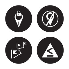 4 vector icon set : Location off, Left chevron, Location, information Point Pin isolated on black background