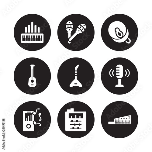 9 vector icon set : Organ, Maraca, Mp3, Voice recording