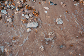 Pebbles, sand and water textures