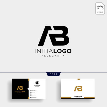 initial AB abstract geometric logo template and business card design