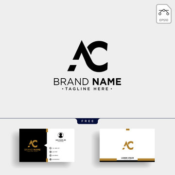 initial AC abstract geometric logo template vector illustration and business card design