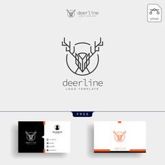 Minimal deer outline or line art logo template and business card