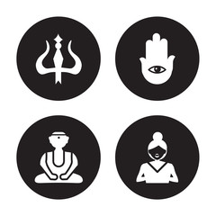 4 vector icon set : Hinduism, Great buddha, Hamsa, gospel isolated on black background