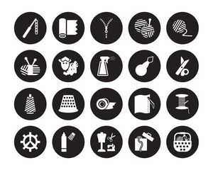 20 vector icon set : crochet hook, Sewing box, sewing Craft, Marker, Spokes, Yarn, Threader, Tape, Thread, Wool, Zipper isolated on black background