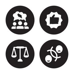 4 vector icon set : Brainstorm, Balance, Best, Attitude isolated on black background