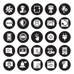25 vector icon set : Repair tools, Next Page, Note, Notification, Off, Previous, Plus, Pause, Play Button, Rating, Refresh, Remove isolated on black background.