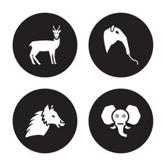 4 vector icon set : Antelope, Alpaca, Anteater, Elephant isolated on black background