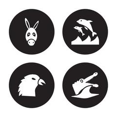 4 vector icon set : Donkey, Crow, Dolphin, Crocodile isolated on black background
