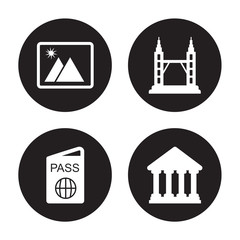 4 vector icon set : Photo, Passport, Petronas towers, Parthenon isolated on black background