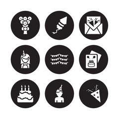 9 vector icon set : Bouquet, birthday rocket, Birthday cake, card, Flag, invitation, girl, boy isolated on black background