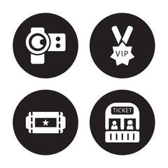 4 vector icon set : camera lens, Buy Tickets Online, Vip person, box office isolated on black background