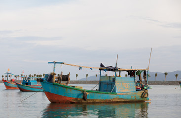 Fishing boat on the sea in Vietnam