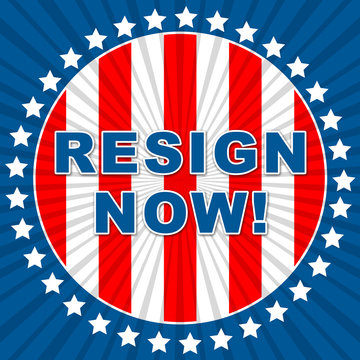 Resign Now Flag Sign Means Quit Or Resignation From Job Government Or President