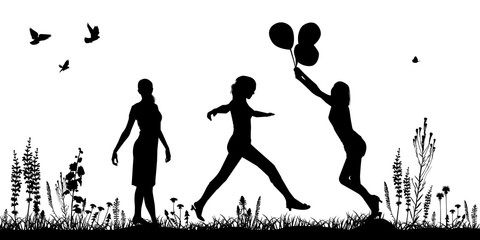 Silhouettes of girls on the meadow, on the grass, vector. Women are having fun, jumping, enjoying nature. Concept summer, holiday, March 8th.