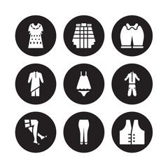 9 vector icon set : Kaftan, Kilt, stockings, tracksuit, Nightwear, Knickers, Kurta, briefs isolated on black background