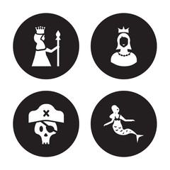 4 vector icon set : Queen, Pirate, Princess, Mermaid isolated on black background