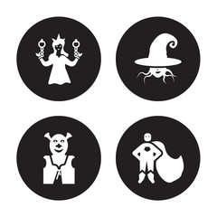Obraz 4 vector icon set : damsel, ogre, wicked, hero isolated on black background - fototapety do salonu