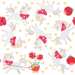 Seamless pattern with cute little unicorns, hearts, strawberry and flowers in red mug.
