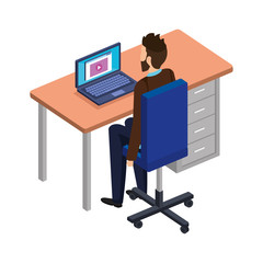 young man in the desk and laptop