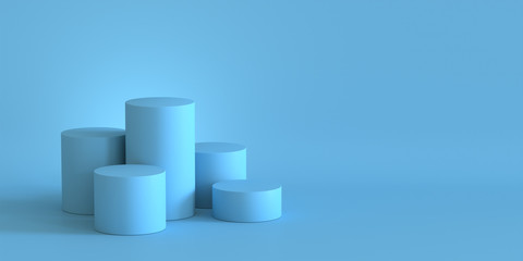 Empty pastel blue podium on blank wall background. 3D rendering.