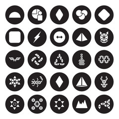 25 vector icon set : Semicircle, Polygonal mountains, multiple stars, ornament, ornament of hexagons and triangles, wolf head isolated on black background.