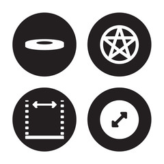 4 vector icon set : Disk, Dimensions, pentagrammic, Diameter isolated on black background