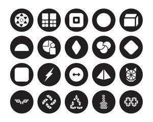 20 vector icon set : Sri yantra, Polygonal triangles guitar, triangular recycle, windmill, wings, Side to side of a cube, Rgb, Radius isolated on black background