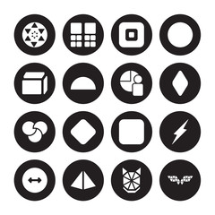 16 vector icon set : Sri yantra, Polygonal wolf head, Prism, Radius, Ray, wings, Side to side of a cube, Rgb, Segment isolated on black background