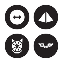4 vector icon set : Radius, Polygonal wolf head, Prism, wings isolated on black background