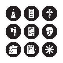 9 vector icon set : Liver, Kidneys, Hospital, Hospital bed, Injury, Intravenous, Intestine, Health care isolated on black background