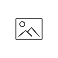 Image gallery outline icon. linear style sign for mobile concept and web design. Mountains landscape picture simple line vector icon. Symbol, logo illustration. Pixel perfect vector graphics