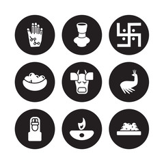 9 vector icon set : Henna painted hand, indian Vase, Vishnu, Peacock, Cow, Swastica, Laddu, Diwali lamp isolated on black background