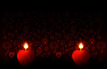 Valentines Day. Two burning candles in the shape of a heart. Against the background of doodle-pictures