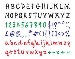 Black ink brush font design, green numbers, red lower case alphabets, blue sign mark.