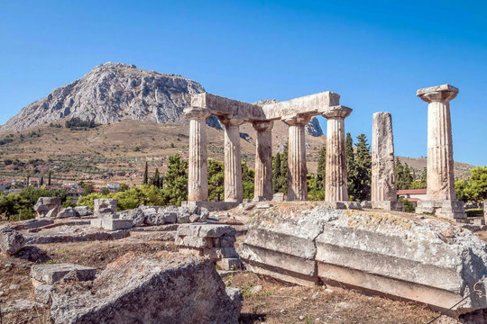 Ruins of Appollo temple in ancient Corinth, Peloponnese, Greece