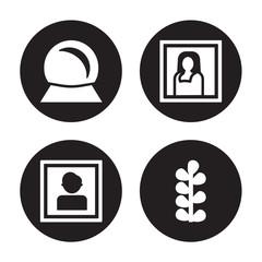 4 vector icon set : Souvenir, Portrait, Gioconda, Botanical isolated on black background