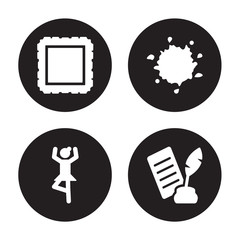 4 vector icon set : Frame, Ballet, Ink, Poetry isolated on black background