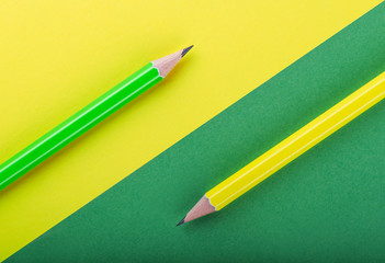 Green and yellow pencils