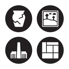 4 vector icon set : Ancient jar, Tate modern, Artwork, Mondrian isolated on black background