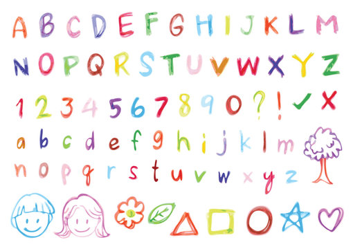 Colorful freehand alphabet