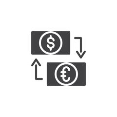 Dollar and Euro exchange vector icon. filled flat sign for mobile concept and web design. eur and usd money and transfer arrows simple solid icon. Symbol, logo illustration. Pixel perfect vector