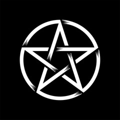 Pentagram isolated vector occultism symbol star in circle