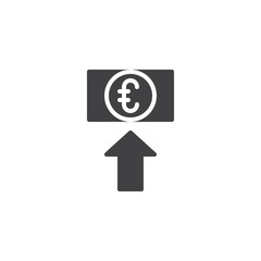 Euro exchange rate vector icon. filled flat sign for mobile concept and web design. Euro money with up arrow simple solid icon. Symbol, logo illustration. Pixel perfect vector graphics