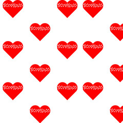 seamless red heart pattern tiny white flowers
