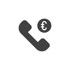 Telephone Business Conversation vector icon. filled flat sign for mobile concept and web design. Euro currency money call simple solid icon. Symbol, logo illustration. Pixel perfect vector graphics