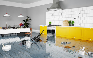 flooding kitchen interior.