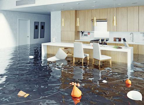 flooding kitchen interior.